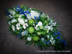 Blue, White & Green Casket Spray