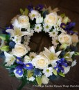 _Rose & Lily Wreath In White & Blue