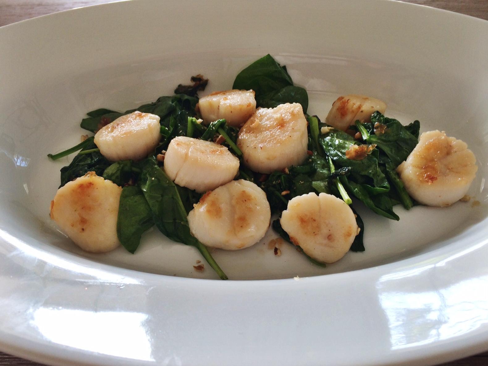 Pecan crusted sweet scallops
