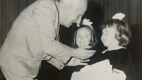 Christine McDonald presenting Blessed Mother to Jimmy Durante