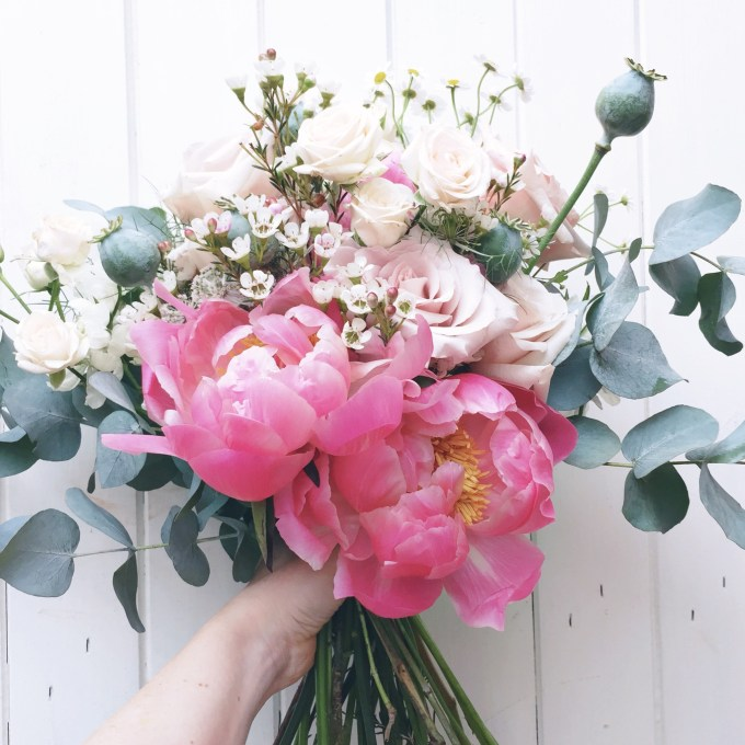 Whimsical wedding bouquet with peonies by Jody Page