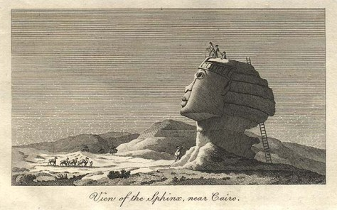 Denon's drawing of the Sphinx show it with a broad nose and thick lips, clearly African features.