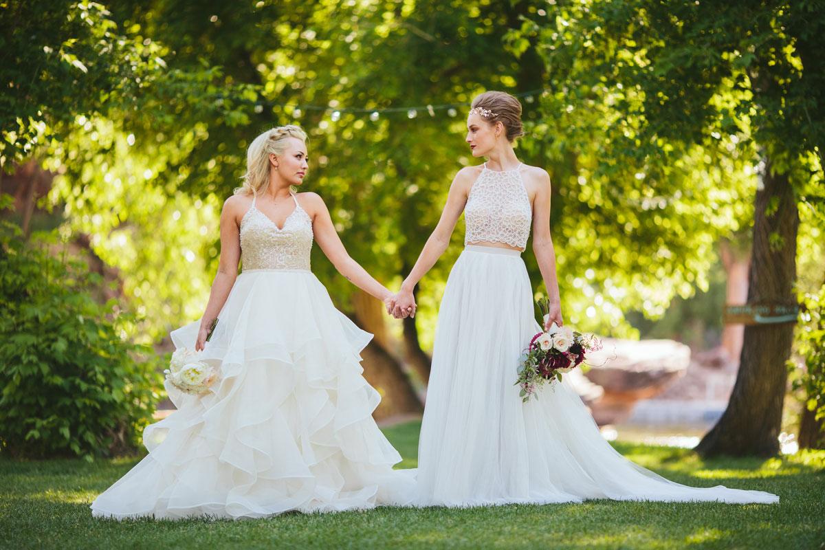 a modern lesbian wedding styled shoot lesbian wedding ideas Modern Lesbian Wedding Couple