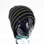 CozyB - Black and Thin Yellow Stripes Beanie Headphone Front View