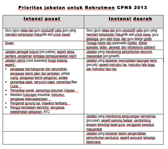 PRIORITAS CPNS 2013