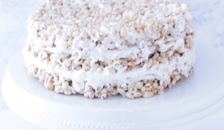 No Bake Cake with Honey Smacks Cereal (and Marshmallow Buttercream!)