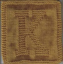 Knitted Alphabet Dishcloth Patterns : Knitted Letter Cloth   K   craftbits.com