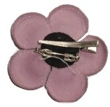 Leather Flower Pin Back