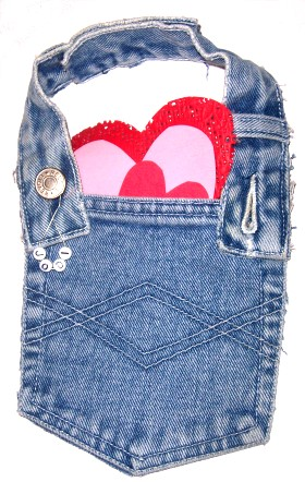 Recycled Jeans Valentine Pouch