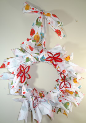 Wreath Made Of Table Cloth And Pool Noodle