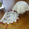 Vintage Sugar Bowl Beaded Doily