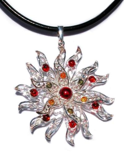Win a Starburst Baltic Amber Silver Pendant
