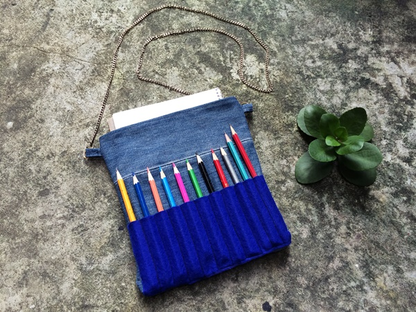 Old Jeans to Adult Coloring Pencil Bag