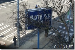 Sixth Avenue Inn sign from my room