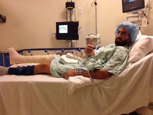 Surgery, Round 1: titanium bits go in.