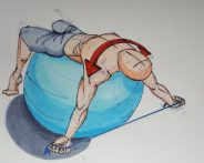 I might have invented this one: back bend over a Swiss ball while pulling apart the chest and front shoulders.