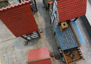 A bird's eye view of the miniature buildings from Custom Kingdoms.