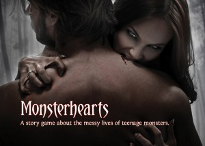 Poster for Joe McDaldno's Monsterhearts RPG with vampiress biting into hunk's neck.