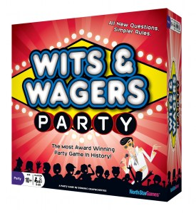 Cover for North Star Games Wits and Wagers Party game.