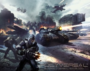 Polyversal 6mm Sci-Fi game cover art with tanks and mechs.