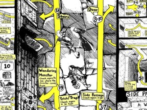 Image of Paul Hughes map of a dungeon from overhead with random encounters.