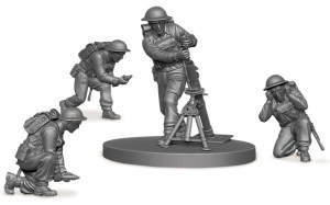 1/72nd scale plastic miniature British soldiers and mortar from Zvezda.