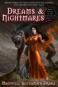 Goddess with Drakon on the cover of Dreams and Nightmares