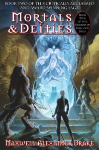 Cover depicts cat person Kith, assassin around glowing goddess on Mortals and Deities cover