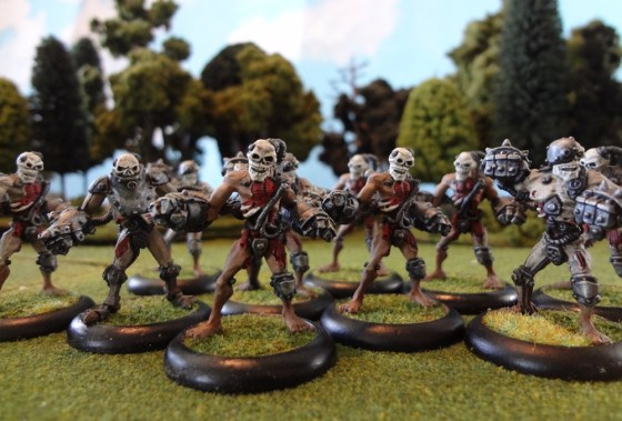 Closeup of the Warmachine undead troops the Mechanithralls