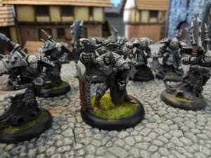 Warmachine warcaster Goreshade with summoned unit of Bane Thralls