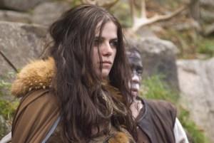 Actress Tiio Horn in furs as Princess Evlynia