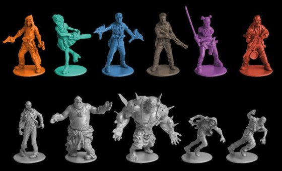 Zombicide's 6 Survivor miniatures with sculpts of 4 varities of zombies in the game
