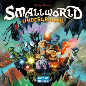 Tiny underground monsters on the cover of Small World Underground from Days of Wonder