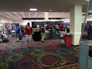"Sparse ""crowd"" at the 2012 GAMA Trade Show Exhibitor's Hall with maybe 12 people milling around"