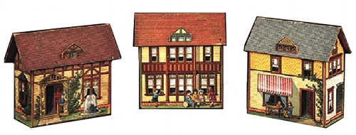 Three card village buildings from The Pretty Village published in 1890