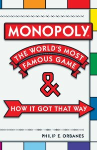 Book cover to Philip Orbanes Monopoly book with Monopoly-patterned background