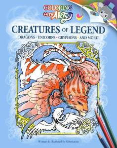 Monster coloring book cover featuring kawaii cute creatures for kids to draw featuring the cat-headed bird itsumade