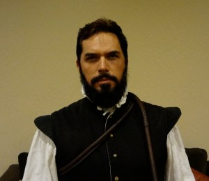 Chad Light re-enactor of Don Pedro Menedez de Aviles at Combat Con with bullwhip around neck in costume