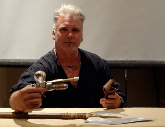 David Baker showing a crystal-powered steampunk pistol at the 2012 Combat Con