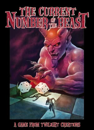 Satanic devil playing with dice on cover of Twilight Creations Current Number of the Beast