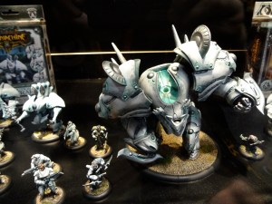 28mm Warmachine Retribution figures in a glass case at Comic-Con 2012