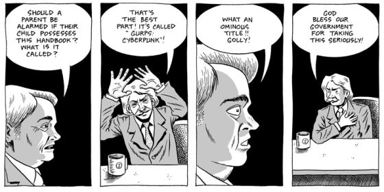 Black and white comic book panels from Wizzywig with talk show host and pundit showing alarm over GURPS Cyberpunk title