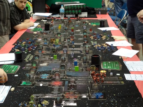 Gamers enjoy the Space Hulk board game from Games Workshop at Gen Con 2012