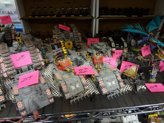 Painted rack of Space Marine tanks on sale at Gen Con for around $30