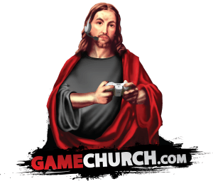 Depiction of Jesus Christ playing console video game for Gamechurch.com