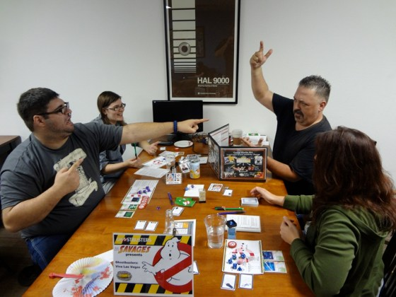 Three Savage Worlds Players Plus GM Getting Animated Over RPG of Ghostbusters at Vegas Game Day