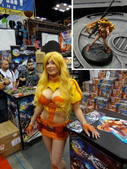 Busty Cosplayer Marie-Claude Bourbonnais at Gen Con playing Rin Farrah with miniature her costume is based on