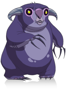 Scaradorable of Gloom Hollow Squeaky from Kaijudo, purple mole creature beast