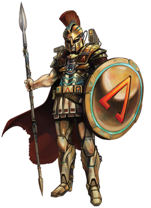 Greek Sci-Fi Hellas Hoplite in armor with shield and spear