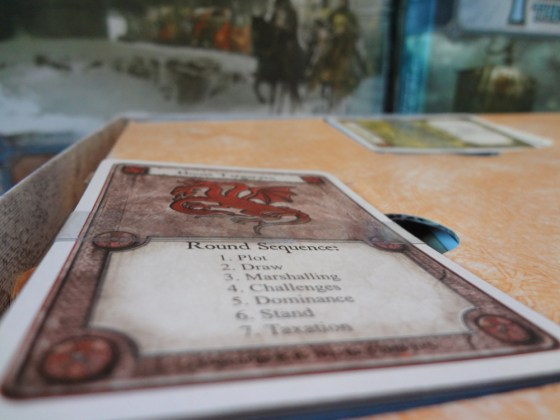 Stack of Game of Thrones LCG cards held together with Hugo's Amazing Tape